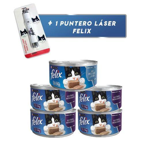 pack-x-4-latas-de-felix-adulto-pate-pavo-y-menudencias-1-pate-pescado-y-atun-156gr-1-laser-gratis-hello